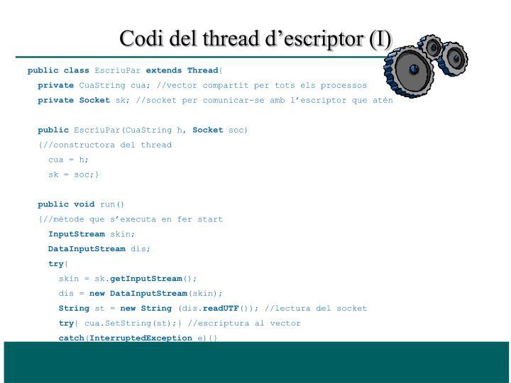 Codi del thread d'escriptor (I)