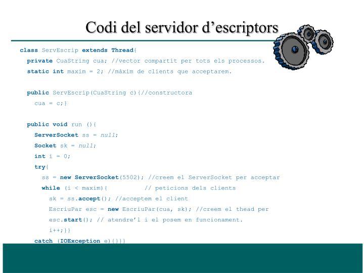 Codi del servidor d'escriptors
