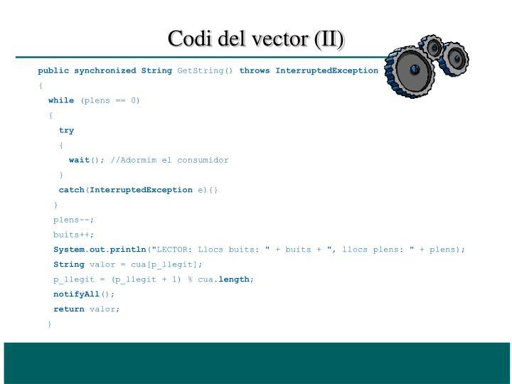 Codi del vector (II)