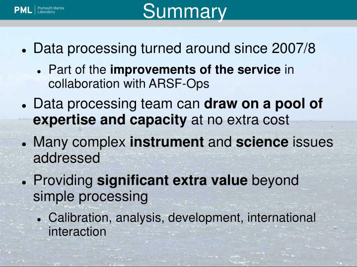 Data processing turned around since 2007/8