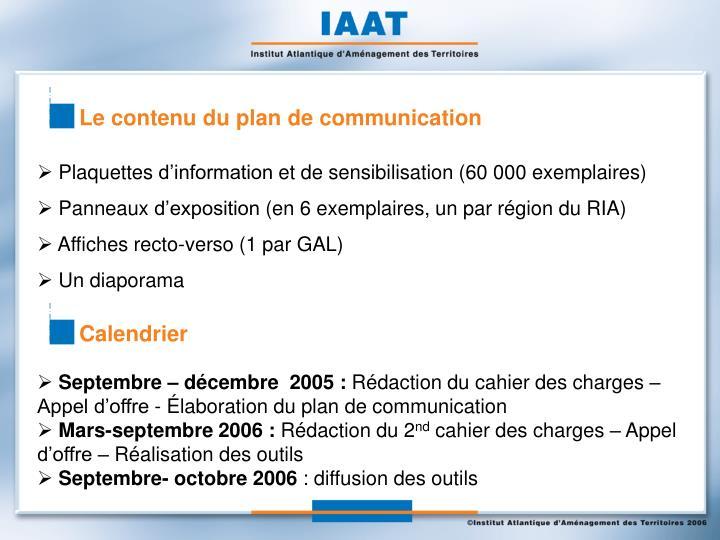 Le contenu du plan de communication