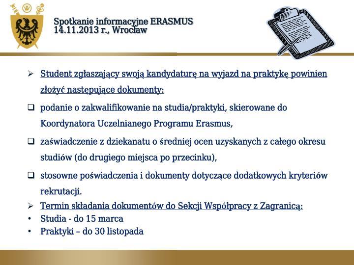 Spotkanie informacyjne ERASMUS