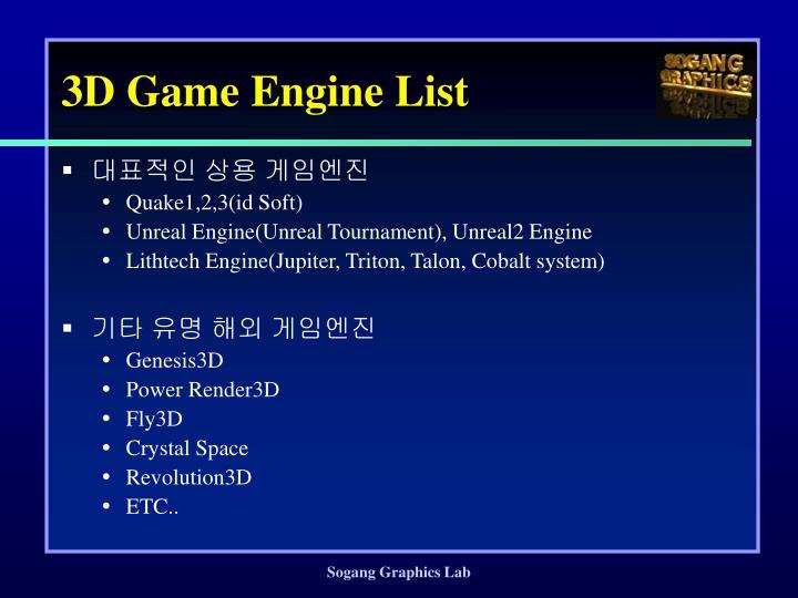 3D Game Engine List