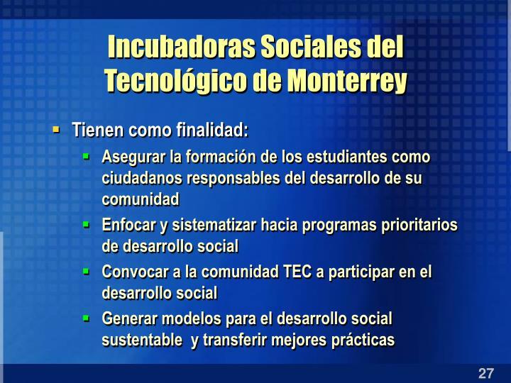 Incubadoras Sociales del Tecnológico de Monterrey