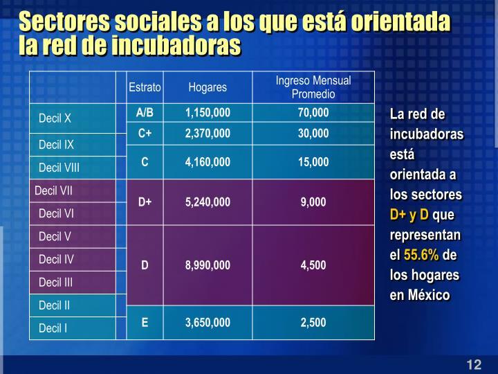 Sectores sociales a los que está orientada la red de incubadoras