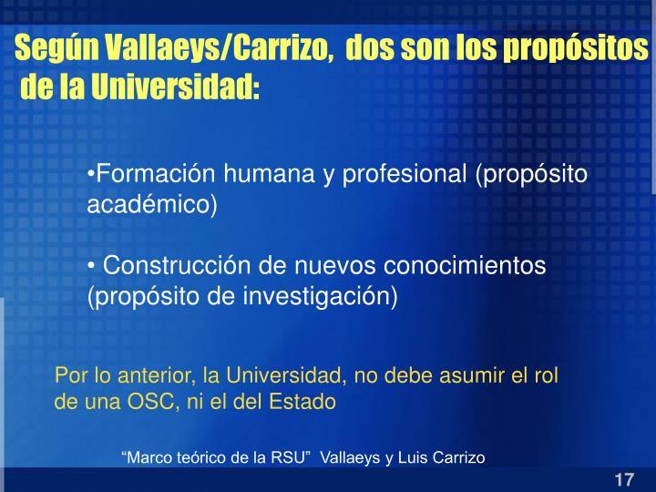 Según Vallaeys/Carrizo,  dos son los propósitos