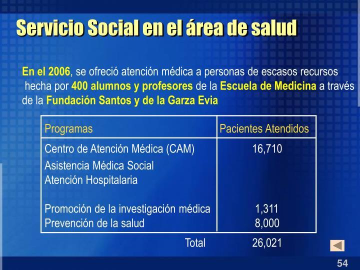 Servicio Social en el área de salud