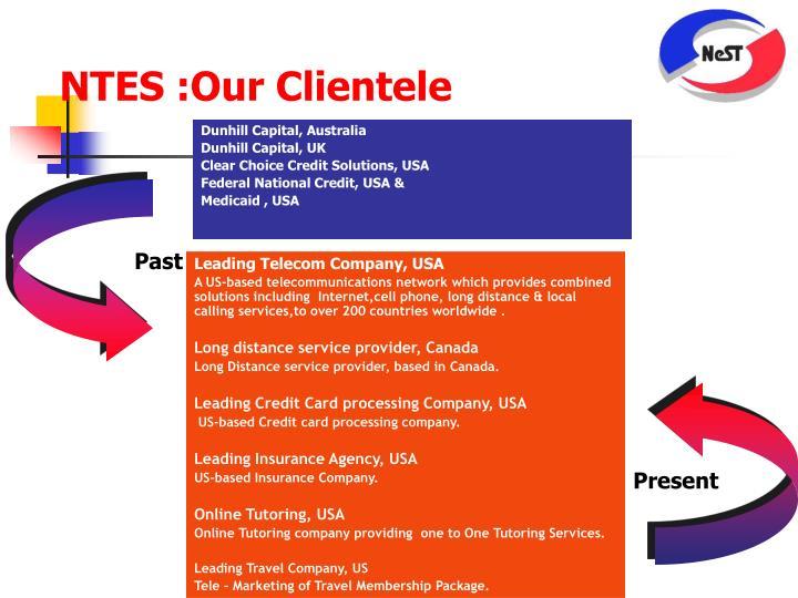 NTES :Our Clientele