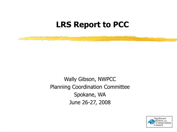 Lrs report to pcc