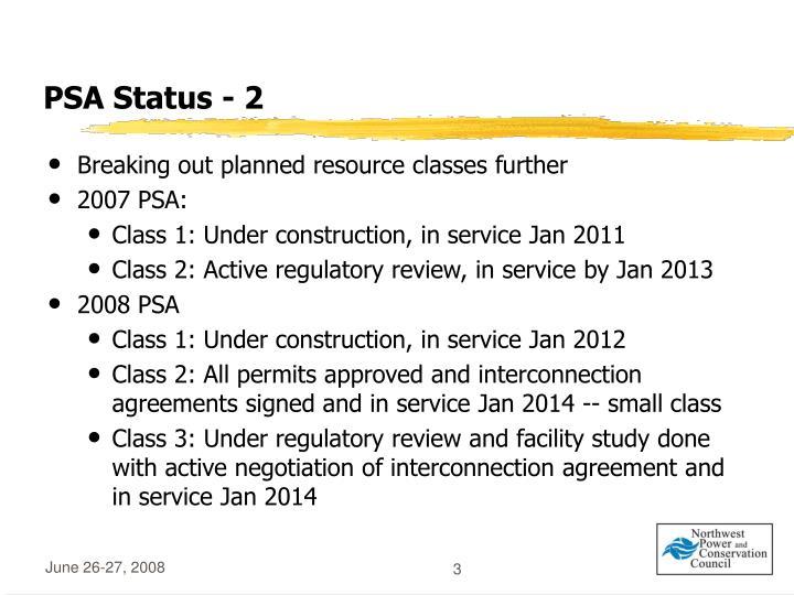 PSA Status - 2
