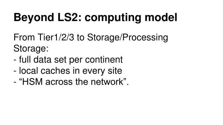 Beyond LS2: computing model