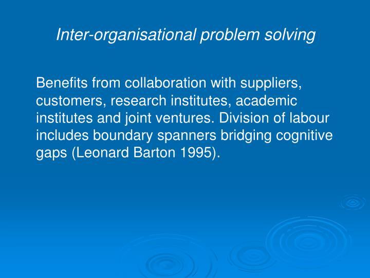 Inter-organisational problem solving