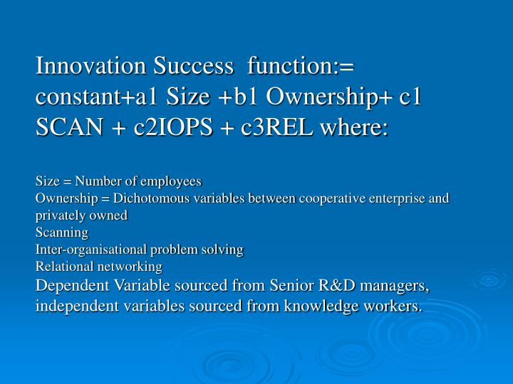 Innovation Success  function:= constant+a1 Size