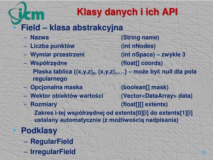 Klasy danych i ich API