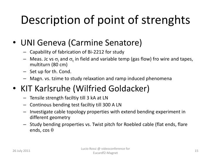 Description of point of