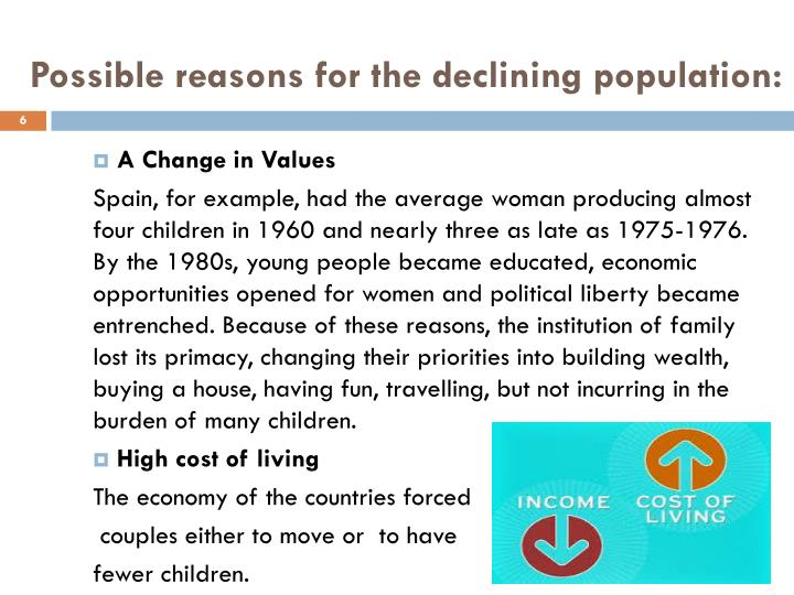 Possible reasons for the declining