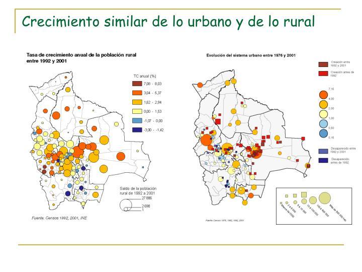 Crecimiento similar de lo urbano y de lo rural