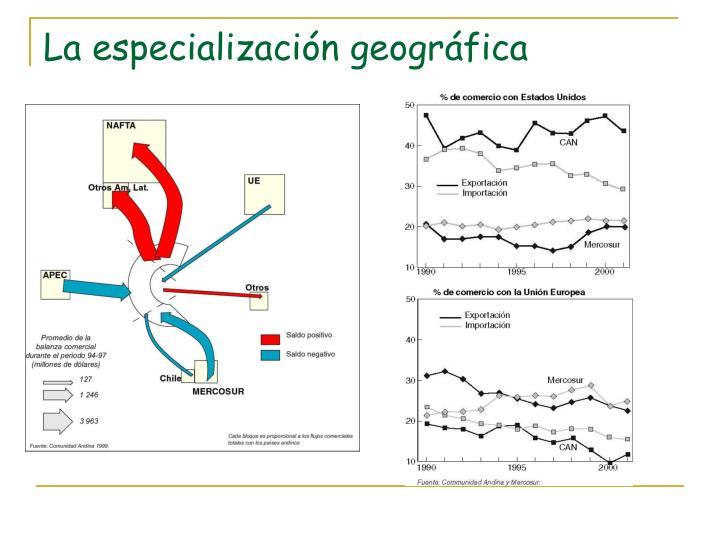 La especialización geográfica