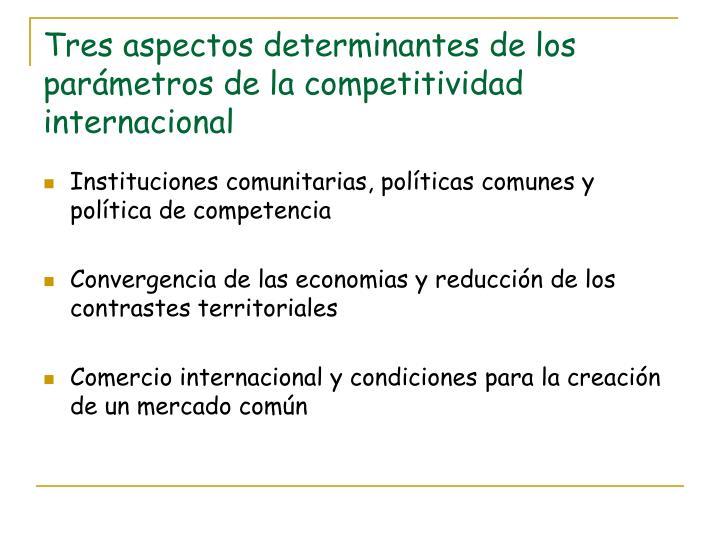 Tres aspectos determinantes de los parámetros de la competitividad internacional