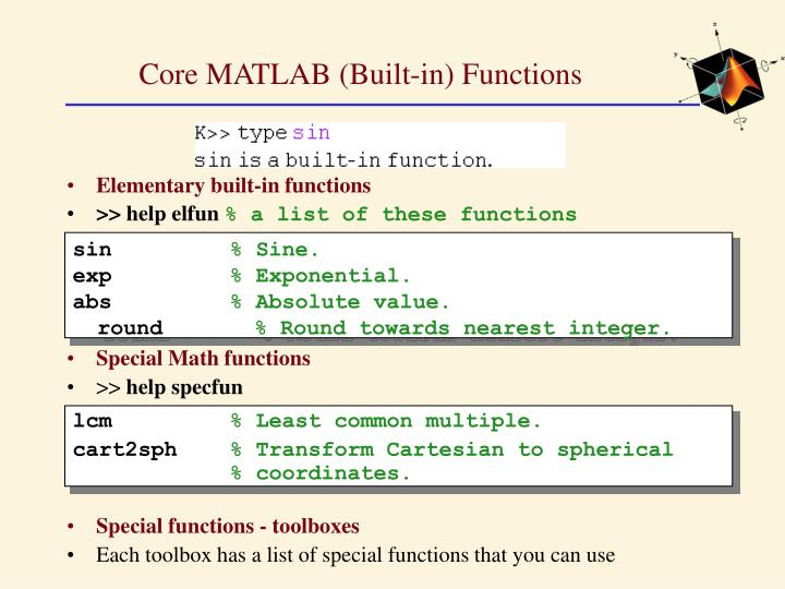 Core MATLAB (Built-in) Functions