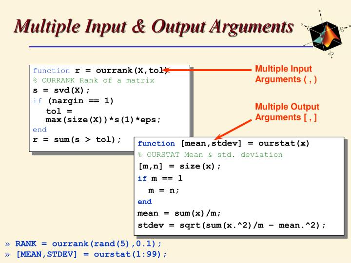 Multiple Input & Output Arguments