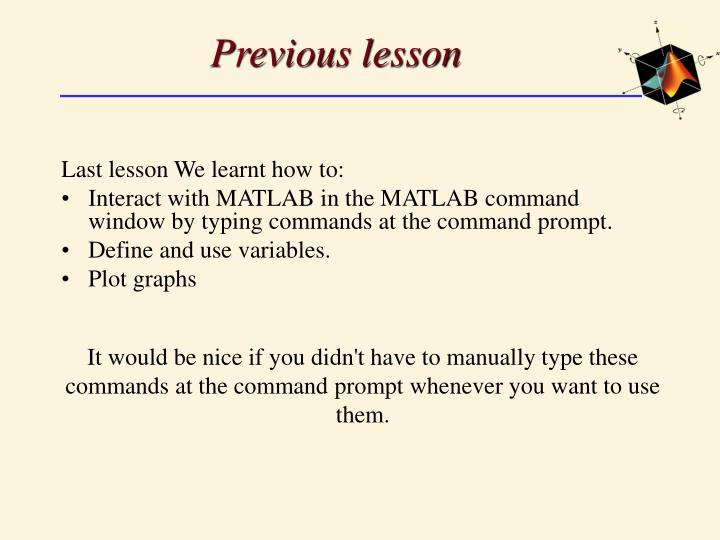 Previous lesson