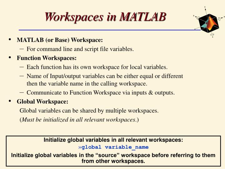 Workspaces in MATLAB