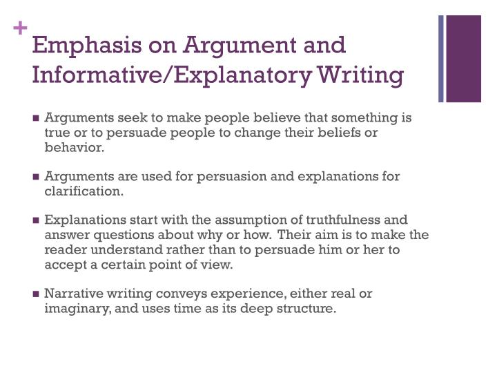 Emphasis on Argument and Informative/Explanatory Writing