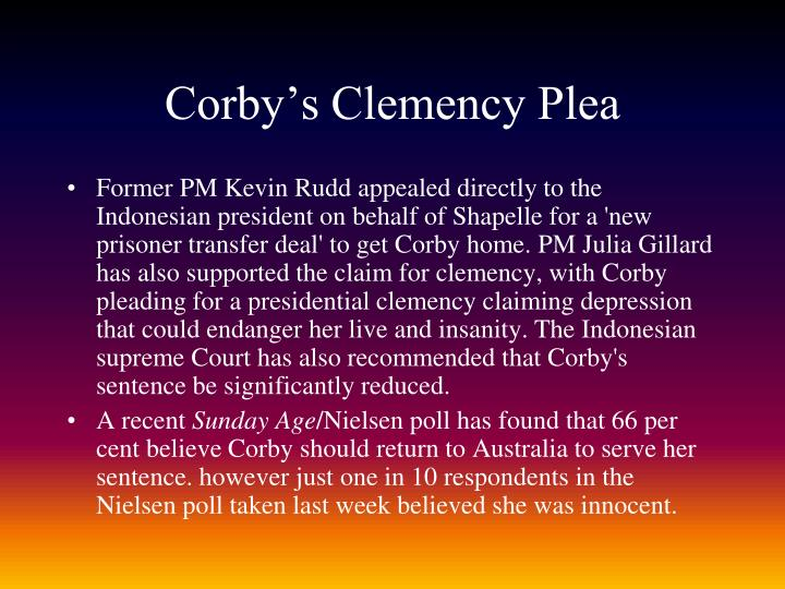 Corby's Clemency Plea
