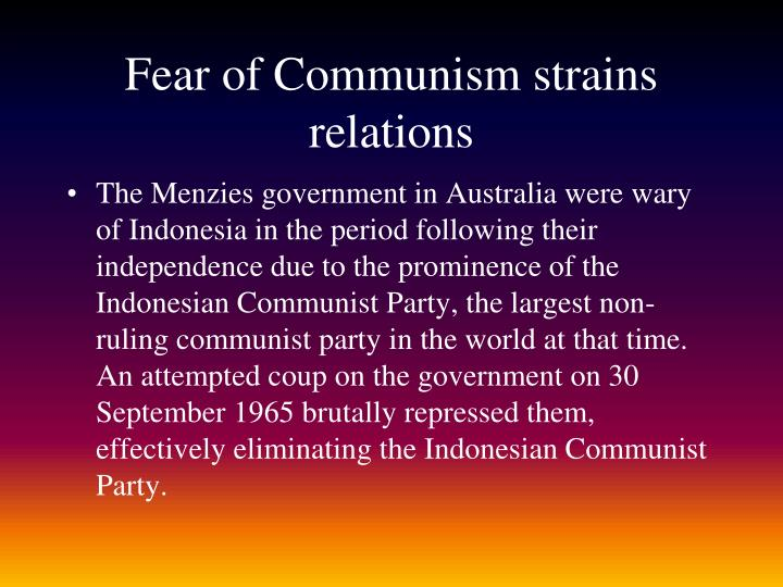 Fear of Communism strains relations