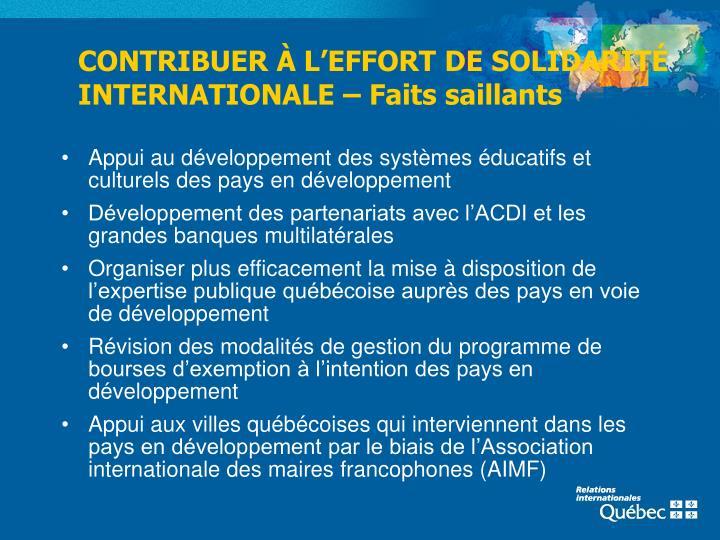 CONTRIBUER À L'EFFORT DE SOLIDARITÉ INTERNATIONALE – Faits saillants