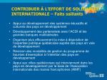 contribuer l effort de solidarit internationale faits saillants1
