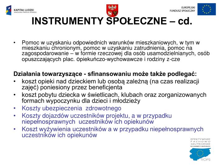 INSTRUMENTY SPOŁECZNE – cd.