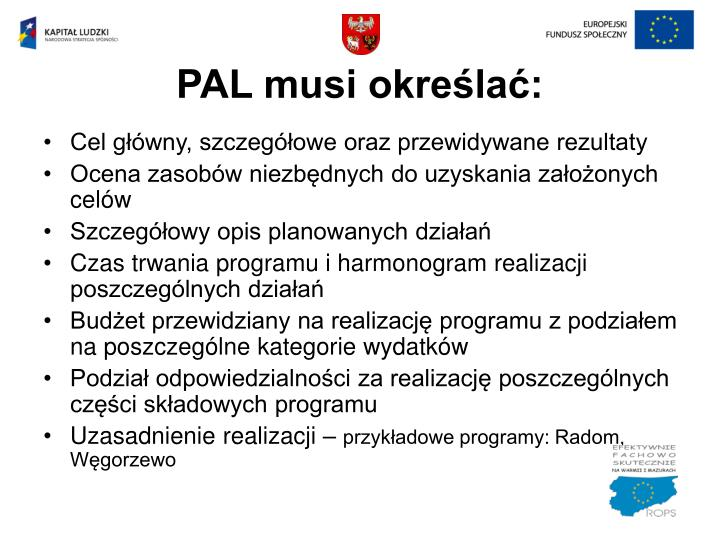 PAL musi określać: