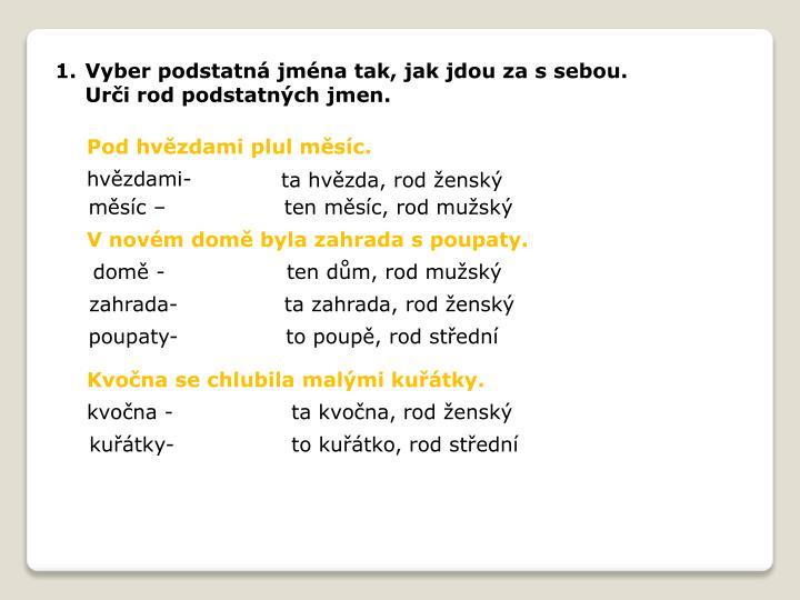 Vyber podstatná jména tak, jak jdou za s sebou.       Urči rod podstatných jmen.