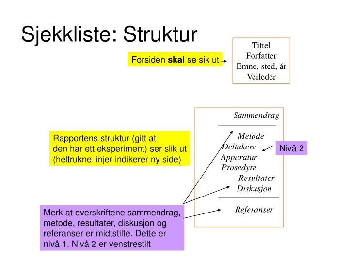 Sjekkliste: Struktur