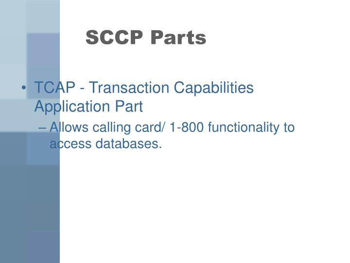 SCCP Parts
