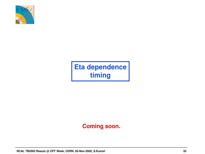 Eta dependence