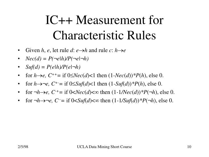 IC++ Measurement for Characteristic Rules