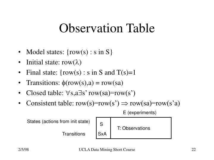 Observation Table