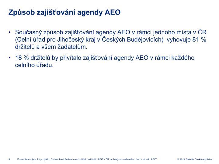 Způsob zajišťování agendy AEO