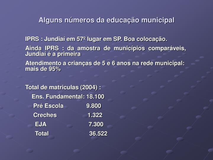 Alguns números da educação municipal