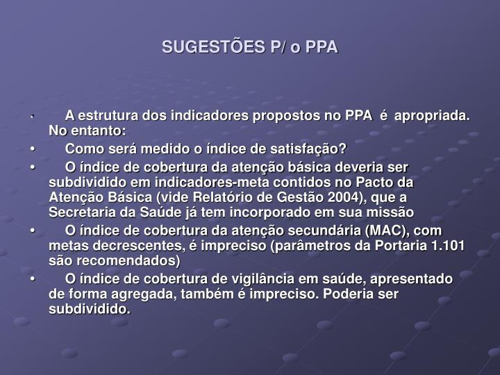 SUGESTÕES P/ o PPA