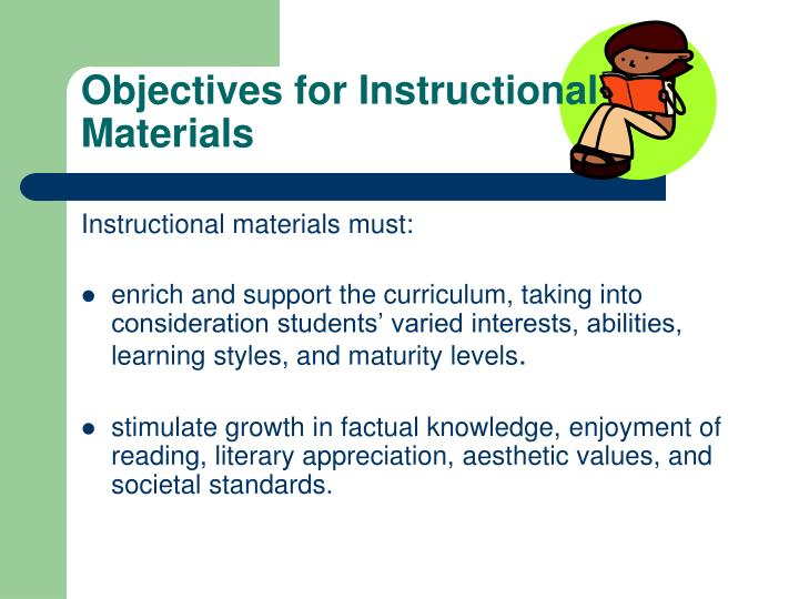 Objectives for Instructional Materials