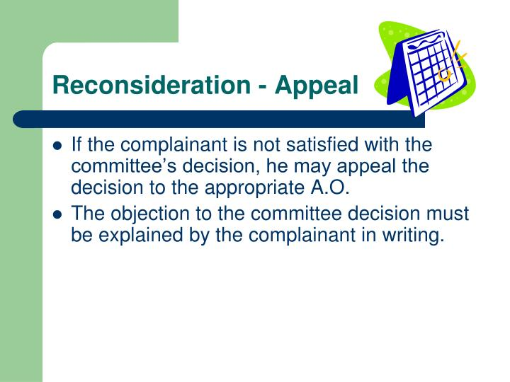 Reconsideration - Appeal