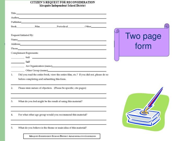 Two page form
