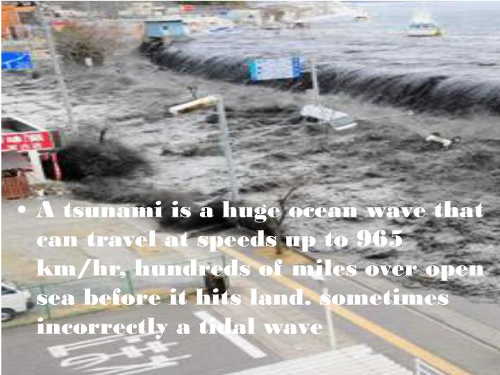 A tsunami is a huge ocean wave that can travel at speeds up to 965 km/hr, hundreds of miles over open sea before it hits land. sometimes incorrectly a tidal wave