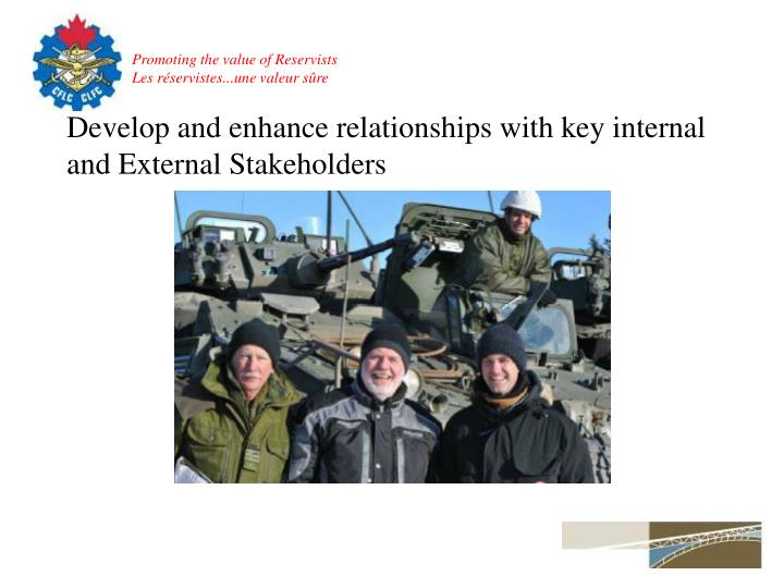 Develop and enhance relationships with key internal and External Stakeholders