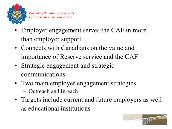 Employer engagement serves the CAF in more