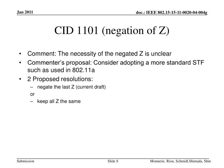 CID 1101 (negation of Z)